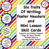 Six Traits Poster Headers and Skill Cards for Writing