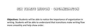 Six Traits Organization Lesson