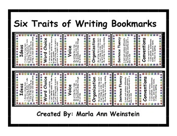 Six Traits of Writing Bookmarks