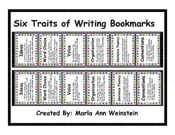Six Traits of Writing Bookmarks