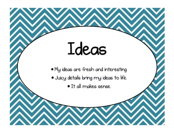 Six Traits of Writing - Chevron - Multicolored - Set of 7 Posters