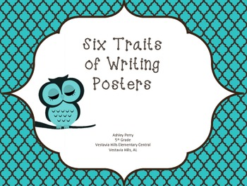 Six Traits of Writing Posters -  Teal Owls