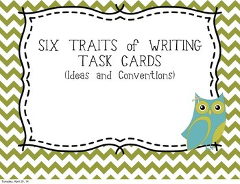 Six Traits of Writing TASK CARDS - grade 4 (Ideas and conventions)