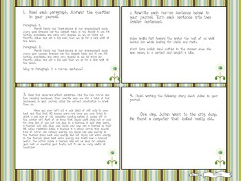 Six Traits of Writing TASK CARDS - grade 4 (sentence fluency and conventions)