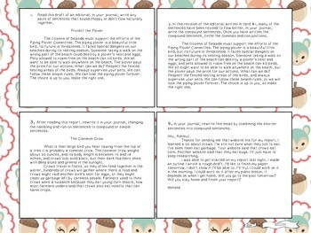 Six Traits of Writing TASK CARDS - grade 6+ (Sentence Fluency and conventions)