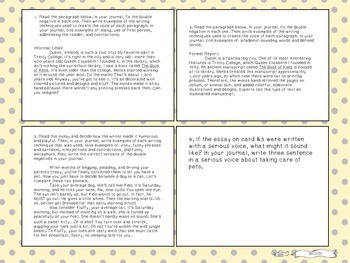 Six Traits of Writing TASK CARDS - grade 6+ (Voice and conventions)
