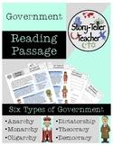 Six Types of Government Reading Passage (Monarchy, Democracy, Dictatorship, etc)