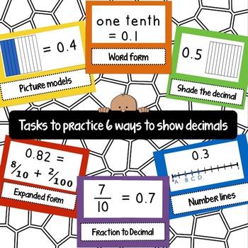 Six Ways to Show Decimals Task Cards (QR Code version)