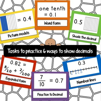 Six Ways to Show Decimals Task Cards (QR Code version)