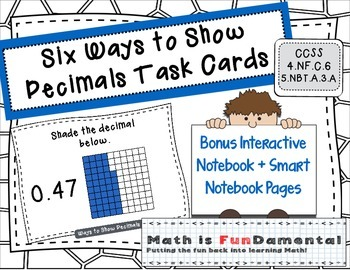 Six Ways to Show Decimals Task Cards