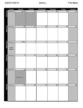 Six Weeks Calendar EDITABLE