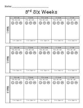 Six Weeks behavior chart