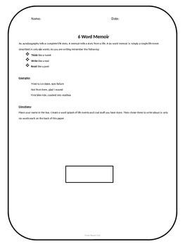 Six Word Memoir Lesson Plan with Printable
