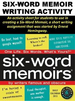 FREE Six-Word Memoir Writing Activity