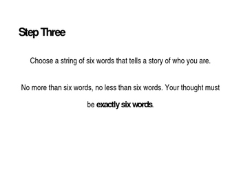 Six Word Memoir English Introduction Activity