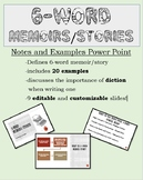 Six Word Memoir or Story Notes and Examples  -PowerPoint P