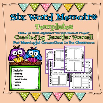 Six Word Memoir Templates For Bell Ringers, Entrance Tickets, and Exit Tickets