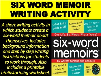 Six-Word Memoir Writing Activity by Mz S