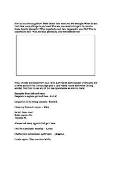 Six Word Memoirs Brainstorming Page