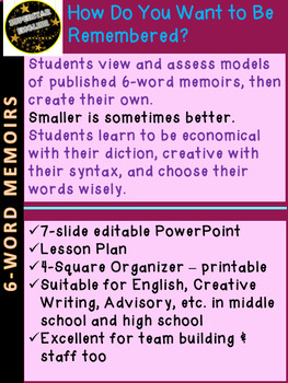 Six-Word Memoirs ICEBREAKER Activity Middle or High School / Staff Development
