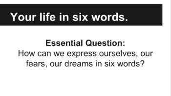 Six-Word Memoirs Creative Writing & Diction Activity 7th 8th 9th 10th 11th 12th
