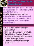 6-Word Memoirs Creative Writing Reflection: AP English 9th 10th 11th 12th
