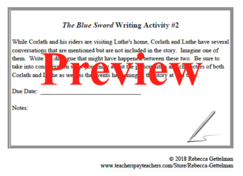 Six Worksheets and Activities for Robin McKinley's The Blue Sword