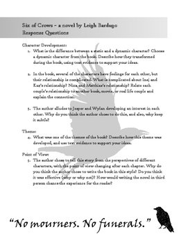 Six of Crows book analysis questions
