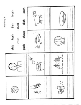 Six worksheets for the sh, ch and th digraphs