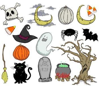 Sixteen Piece Collection of Halloween Clip Art