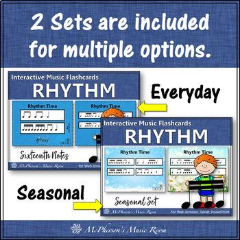 Rhythm Flashcards {Sixteenth Notes} Interactive Rhythm Flash Cards