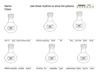Sixteenth Note Potion Challenge/Assessment
