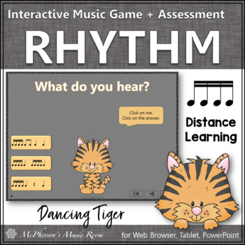 Sixteenth Notes Interactive Rhythm Game and Assessment {Dancing Tiger}