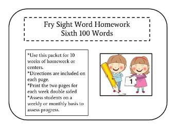 Sixth 100 Fry Sight Words