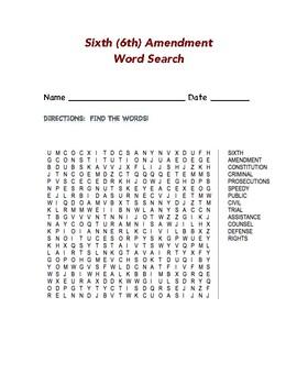 Sixth (6th) Amendment Word Search