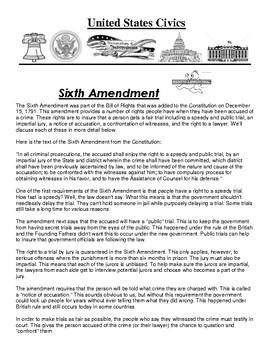 Sixth Amendment Civics Article and Assignment