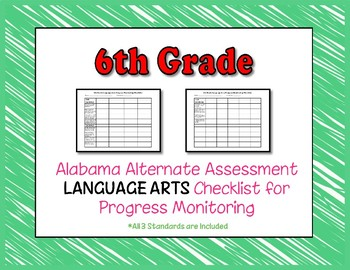 Sixth Grade AAA Language Arts Checklist Progress Monitoring
