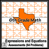 6th Grade Math Expressions and Equations Mini-Assessments {TEKS}