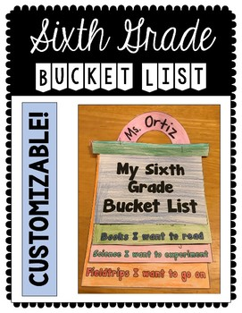 Growth Mindset: Sixth Grade Bucket List