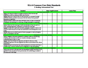 Sixth Grade Language Arts Common Core Checklist
