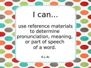 Sixth Grade Common Core ELA Learning Targets Language Standards