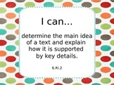 Sixth Grade Common Core ELA Learning Targets Reading Informational Text