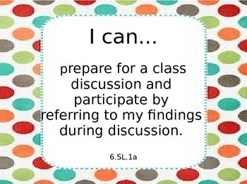 Sixth Grade Common Core ELA Learning Targets Speaking and Listening Standards