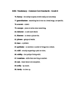 Sixth Grade Common Core ELA Vocabulary List/Definitions