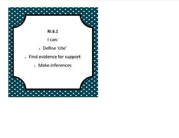 """Sixth Grade Common Core """"I Can"""" Statement Cards for Literature and Info Text"""