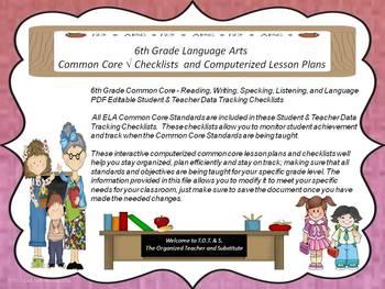 6th Grade Common Core Language Arts Checklists and Drop Down Lesson Plans