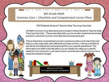 6th Grade Common Core Math Checklists and Drop Down Lesson Plans