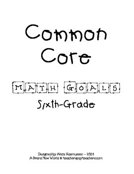 Sixth Grade Common Core Math Goals Set
