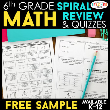 6th Grade Math Spiral Review | 2 Weeks FREE by One Stop Teacher Shop