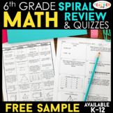 6th Grade Math Spiral Review | 2 Weeks FREE